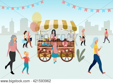 Street Market Wooden Cart With Toys Flat Illustration. Retro Circus Fair Store Stall On Wheels. Trad