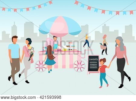 Sweets And Cotton Candy Food Cart Flat Illustration. Street Market Trolley. Outdoor Confectionery, B