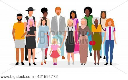 Multiracial People Group Flat Vector Illustration. Multicultural Young Adults Together Cartoon Chara