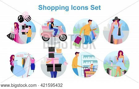 Shopping Flat Concept Icons Set. Buyer Making Purchases Stickers, Cliparts Pack. Shopaholics, Custom