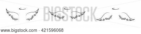 One Line Drawing Wings Set Isolated On White Background. Angel Wings Silhouette Collection. Religiou