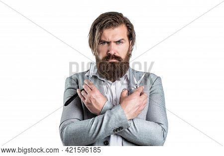 Bearded Man, Bearded Male. Portrait Of Stylish Man Beard. Barber Scissors And Straight Razor, Barber