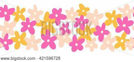 Flower Border Seamless Vector. Cute Simple Doodle Scandi Florals Repeating Horizontal Pattern. Kids