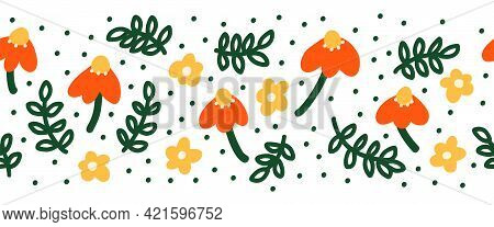 Simple Abstract Hand Drawn Flowers And Doodle Leaves Seamless Border. Botanical Nature Flowers And L