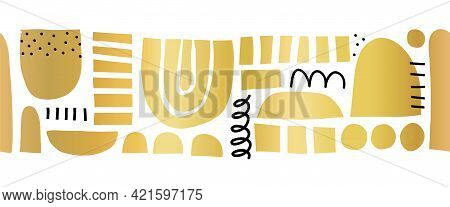 Abstract Golden Shapes Seamless Vector Border. Repeating Horizontal Pattern Cut Out Matisse Style Co