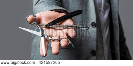 Barber Scissors And Straight Razor, Barber Shop. Mens Haircut In Barber Shop. Mens Haircut, Shaving