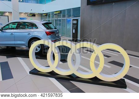 Kyiv, Ukraine - May 8, 2021: Audi Company Logo On Car Audi Quattro