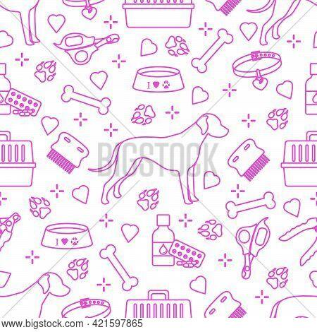 Vector Seamless Pattern Illustration Dog, Paw Tracks, Bone, Bowl, Collar, Comb, Medicines, Scissors,