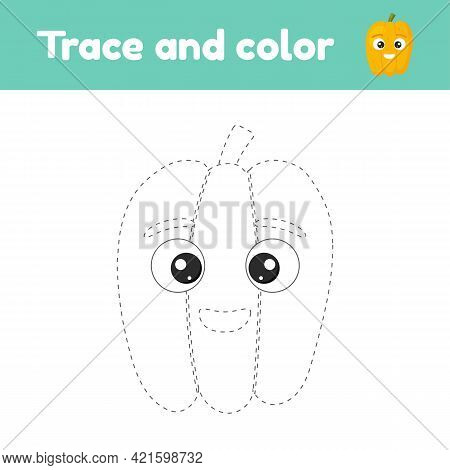 Coloring Book With Cute Vegetable Pepper. For Kids Kindergarten, Preschool And School Age. Trace Wor