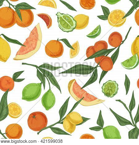 Seamless Pattern With Mix Of Colorful Citrus Fruits On White Background. Endless Repeatable Texture