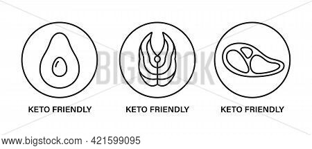 Keto Friendly Stamp. Healthy Eating, Ketogenic, Paleo And Low Carb High Fat Diet Icons. Avocado, Tun