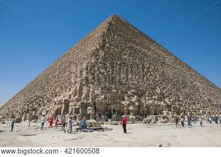 Cairo, Egypt - May 14, 2021: Attractions Of Egypt.  Big Pyramids Of Egypt. Photos From A Trip.