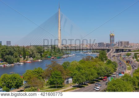 Belgrade, Serbia - May 09, 2021: Ada Cable Bridge Over River Sava Sunny Spring Day In Belgrade, Serb