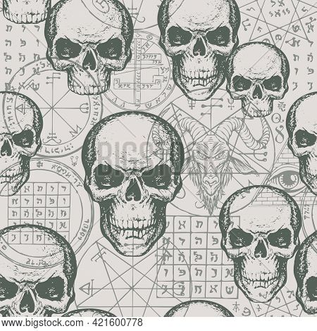 Abstract Seamless Pattern With Hand-drawn Human Skulls Against A Goat Head, Esoteric And Occult Symb