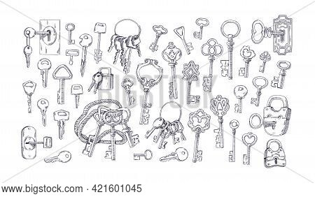 Set Of Etched Vintage Old Door Keys With Keychains And Rings For Locking And Unlocking Padlocks. Han