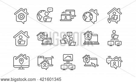 Work At Home Line Icons. Remote Worker, Freelance Job, Office Employee. Stay At Home, Internet Work,