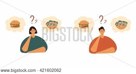 Choosing Between Healthy And Unhealthy Food.good Or Bad Diet, Obesity, Weight Problem, Eating Concep