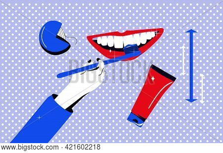 Dentistry Service Poster In Pop Art Style.oral Cavity Care.brushing And Cleaning Teeth With Special