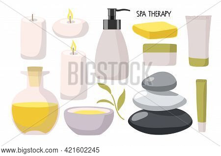 Spa Therapy. Hot Stones, Candles, Oil Bowl, Oil Botlle, Cream Jar, Tubes, Bottles In Fashionable Mod