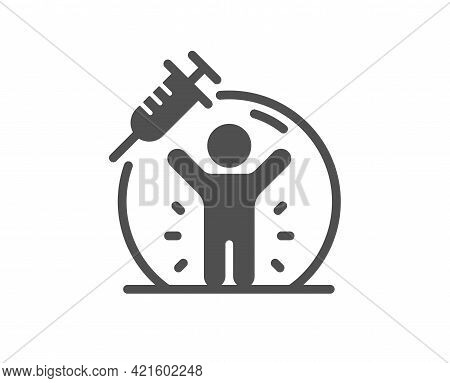 Vaccine Protection Simple Icon. Vaccination Syringe Sign. Jabbed People Symbol. Classic Flat Style.