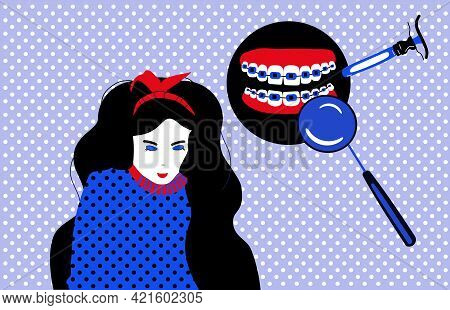 Dentistry Service Poster In Pop Art Style.cute Young Woman With Dental Braces On Teeth.orthodontics