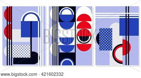 Mid Century Art.set Of Abstract Posters With Geometric Shapes.pop Art Minimal Design Backgrounds.app