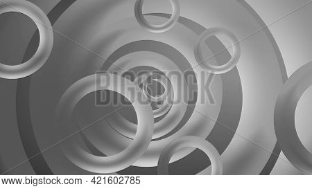 Rings Move In Space. Motion. Beautiful Background Of Rings Of Different Sizes Moving In Space. Beaut