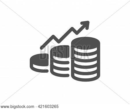 Growth Chart Simple Icon. Coins Money Sign. Business Income Symbol. Classic Flat Style. Quality Desi
