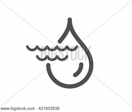 Hydroelectricity Simple Icon. Hydroelectric Energy Type Sign. Water Waves Power Symbol. Classic Flat