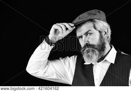 Male Beauty Standards. Portrait Of Mature Man In Victorian Gangster Outfit. Bearded Man Hipster Isol