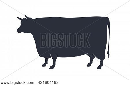 Cow Or Bull Silhouette. Black And White Isolated Cow Or Bull Silhouette. Vintage Retro Print For Mea