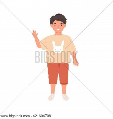 Happy Kid Waving With Hand And Saying Hello. Hi Gesture Of Smiling Child. Portrait Of Schoolboy Or P