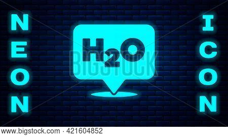 Glowing Neon Chemical Formula For Water Drops H2o Shaped Icon Isolated On Brick Wall Background. Vec