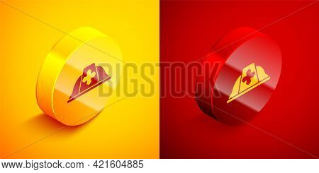Isometric Firefighter Helmet Or Fireman Hat Icon Isolated On Orange And Red Background. Circle Butto