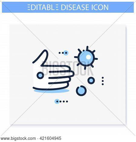 Contact Spread Line Icon. Disease Spreading Concept. Covid19, Virus Disease, Influenza Or Flu Transm