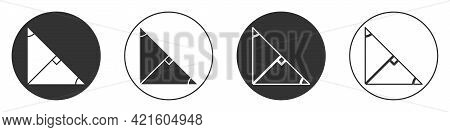 Black Angle Bisector Of A Triangle Icon Isolated On White Background. Circle Button. Vector