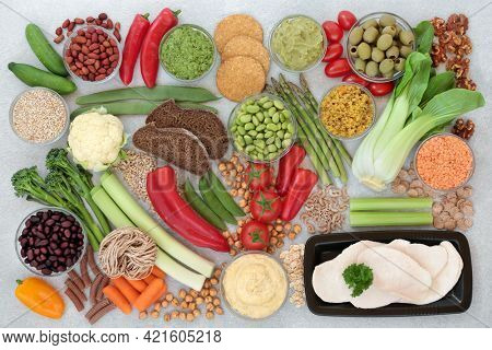 Low glycemic healthy diet food for diabetics with all foods below 55 on the GI index. High in protein  antioxidants, vitamins, anthocyanins, minerals, omega 3 and smart carbs. Health care concept.