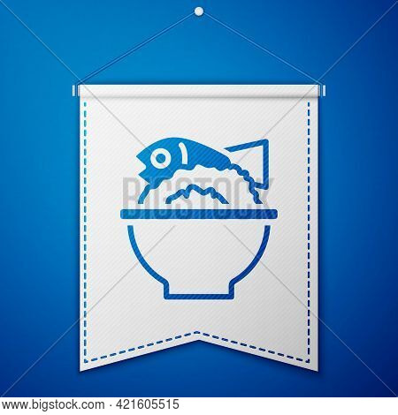 Blue Served Fish On A Bowl Icon Isolated On Blue Background. White Pennant Template. Vector