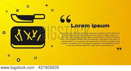 Black Cutting Board And Knife Icon Isolated On Yellow Background. Chopping Board Symbol. Cutlery Sym