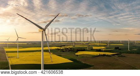 Panoramic Aerial View Of Wind Turbienes At The Sunset With Copy Space