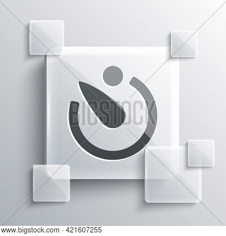 Grey Camera Timer Icon Isolated On Grey Background. Photo Exposure. Stopwatch Timer Seconds. Square