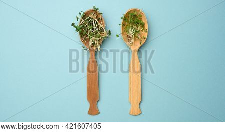 Green Sprouts Of Chia, Arugula And Mustard In A Wooden Spoon On A Blue Background, Top View. Useful