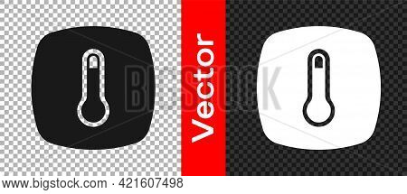 Black Thermostat Icon Isolated On Transparent Background. Temperature Control. Vector