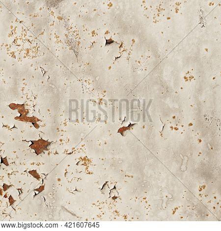 Light Distressed Rusty Metal Texture Background Square. Orange Corrosion Decay Grungy Alluminium Bac