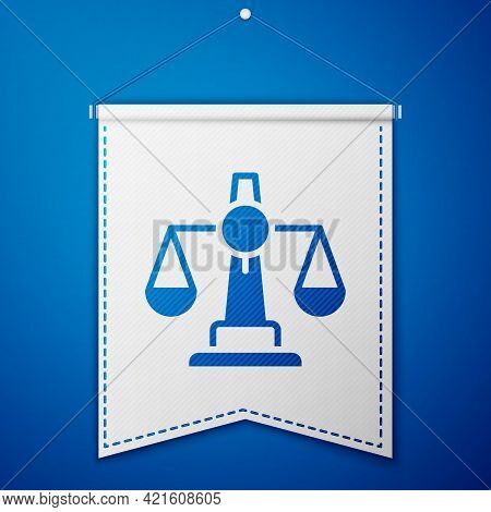 Blue Scales Of Justice Icon Isolated On Blue Background. Court Of Law Symbol. Balance Scale Sign. Wh