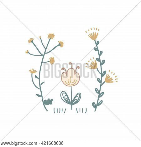 Meadow Floral Flowers Vector Illustration. Scandinavian Folksy Flower Bunch Clip Art Isolated On Whi