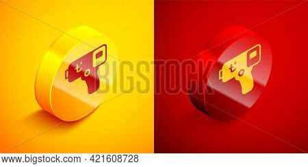 Isometric Digital Contactless Thermometer With Infrared Light Icon Isolated On Orange And Red Backgr