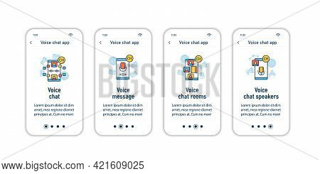 Drop In Audio App Onboarding Mobile App Screens. Application Rules Steps Menu. Voice Chat And Messag