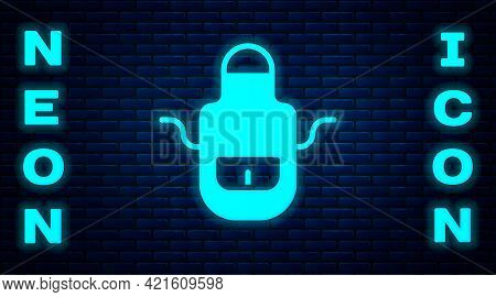 Glowing Neon Barber Apron Icon Isolated On Brick Wall Background. Apron Of A Hairdresser With Pocket