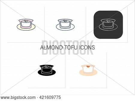 Almond Tofu Icons Set.traditional Japanese Dessert. Delicates. Annin Tofu.spring Japanese Food Conce